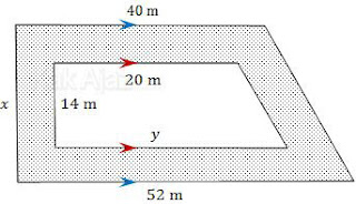 Menentukan luas jalan (daerah yang diarsir) pada lahan trapesium