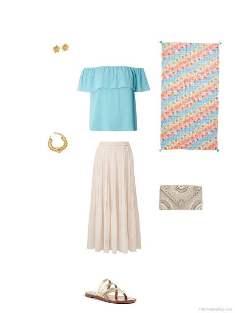 accessories for an aqua top and a beige skirt