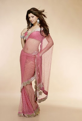 Beautiful Indian Model Akanksha Looking Stunning In Pink Saree.