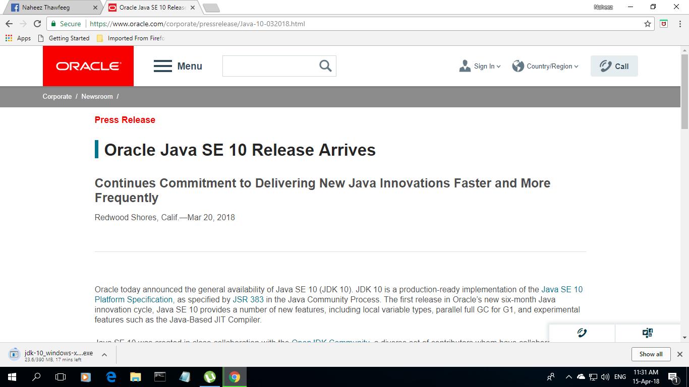 Naheez Thawfeeg's Blog: Oracle® Java™ SE 10