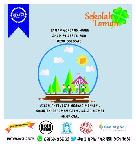 Sekolah Taman, Meramaikan Taman untuk Kegiatan Kreatif dan Positif