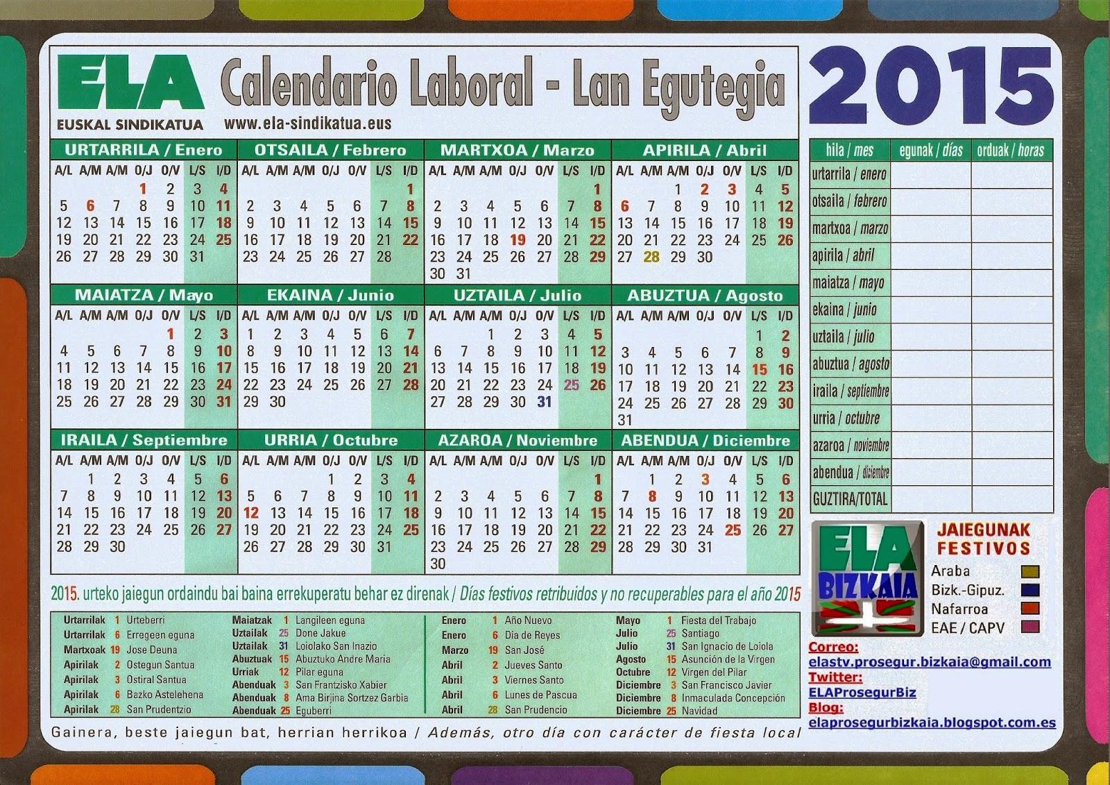 Calendario Laboral 2020 Bizkaia.Calendario Laboral Bizkaia 2020