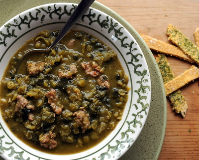 Sausage & Kale Split Pea Soup ♥ KitchenParade.com, a classic split pea soup recipe made hearty with sausage and kale.