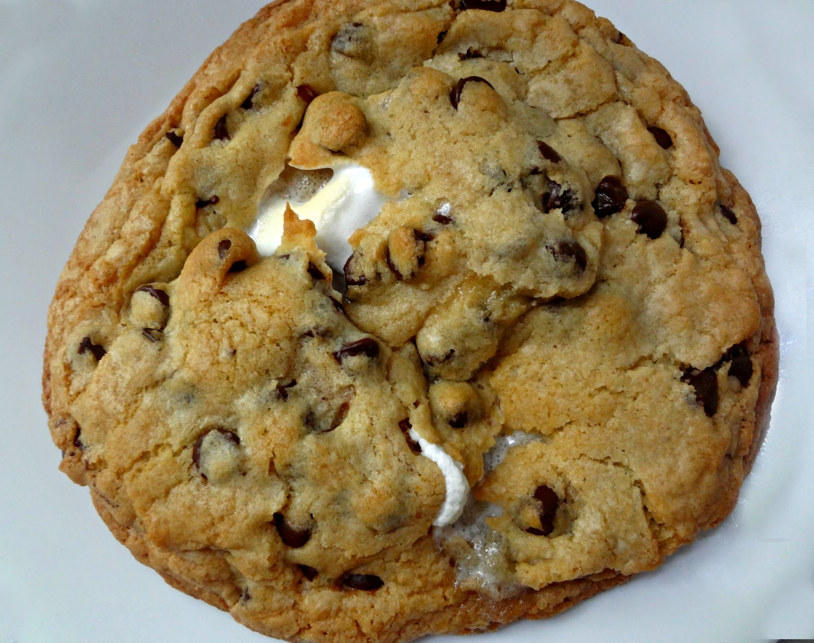 Giant Chocolate Chip Cookie S'mores stuffed chocolate chip