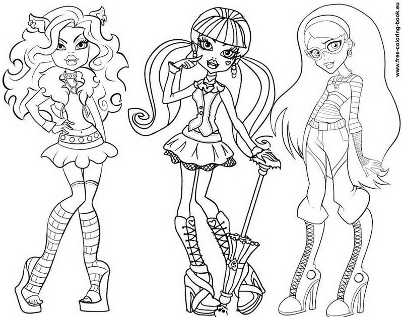 monster high dolls coloring pages pink heart string free printable doll coloring pages