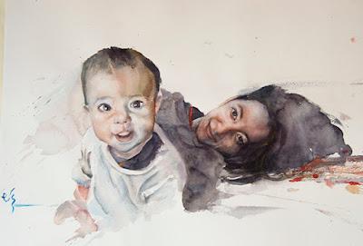 Retrato en acuarela de madre con su hijo