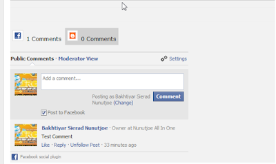 Facebook and Blogger Comment using Tab View