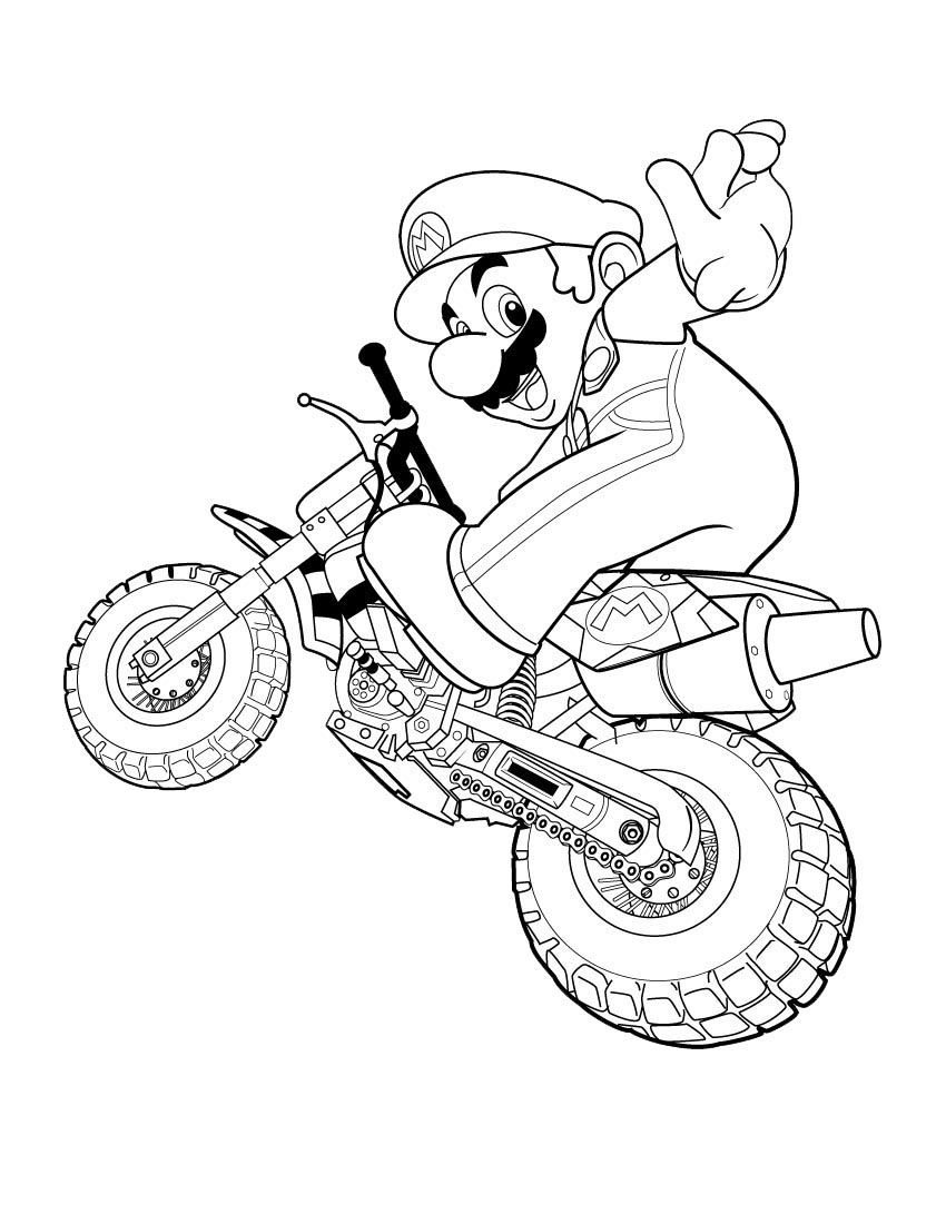 Super Mario Coloring Pages on industrial motorcycles