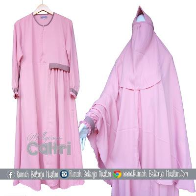 Gamis Syar'i Wollycrepe Caltri Pink Kalem