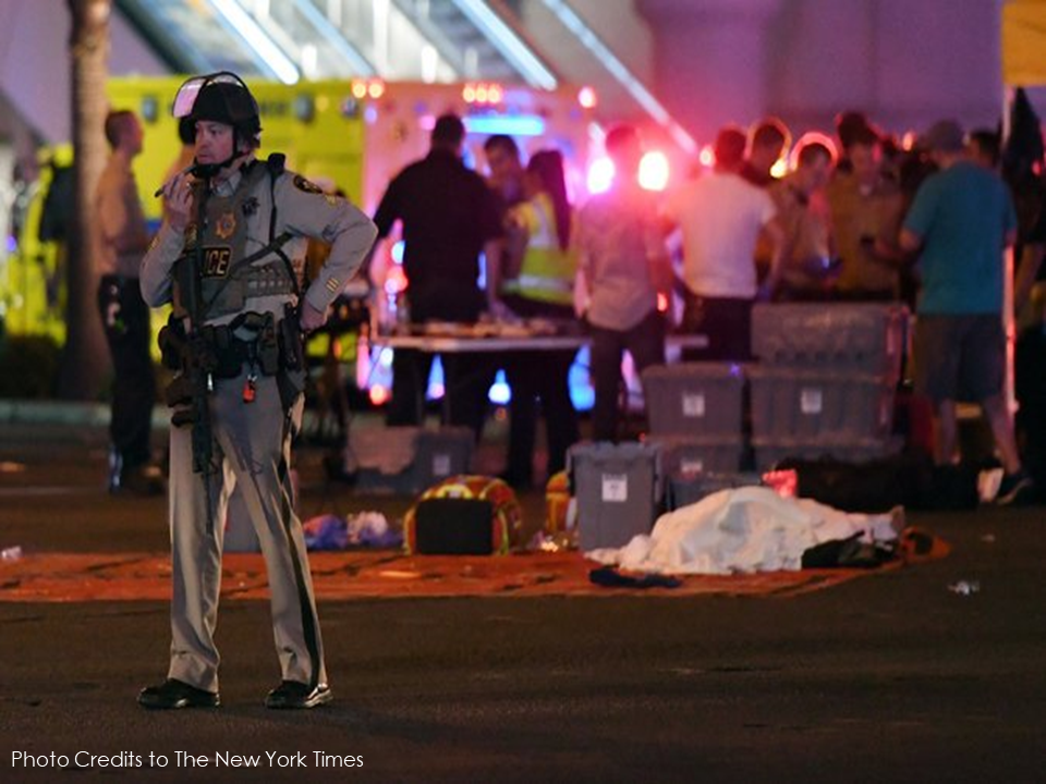 "The largest mass shooting incident in American history at a country music festival Las Vegas, Nevada has claimed 50 lives and almost 500 people injured. The gunman open fire on the crowd from the window of the 32nd floor of Mandalay Bay Hotel. The suspect identified as Stephen Paddock, 64, was found dead in a hotel room with at least 10 guns with him. Police said that he died from a self-inflicted gunshot. A possible person of interest, a Filipina has already been located according to the police authorities.  Sheriff Lombardo described Mr. Paddock as a ""local resident,"" but said that his background was largely a mystery and that his motive was unknown. He predicted ""a long and tedious investigation.""  The police said that Mr. Paddock opened fire on the crowd from a hotel room on the 32nd floor of the Mandalay Bay Hotel on Sunday night. The Las Vegas Police Department SWAT team found him dead.  ""As far as his history and background, we haven't completed that part of the investigation yet,"" Sheriff Lombardo said of the suspect. ""But we located numerous firearms within the room that he occupied.""  Sponsored Links  The gunfire began during a performance by the singer Jason Aldean, the closing act of the Route 91 Harvest Festival, according to Gail Davis, who was in the audience of more than 22,000.  The scene erupted into chaos as thousands of people began to panic. ""Everyone was running,"" she said. ""You could see people getting shot.""  She said a police officer had guided her and her husband to safety as gunshots ricocheted around them. As they ran, Ms. Davis heard a voice on the officer's radio say the words ""active shooters.""  A police officer was reported  dead while responding to the incident. The gunman's companion  Marilou Danley is said to be presently out of the country. Danley reportedly denied that she has anything to do with the shooting. Source : The New York Times   Advertisement  Read More:      ©2017 THOUGHTSKOTO"