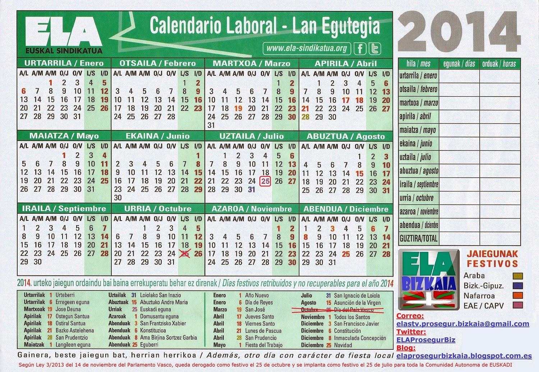 Calendario Laboral 2020 Bizkaia.Calendario Festivos 2020 Bizkaia