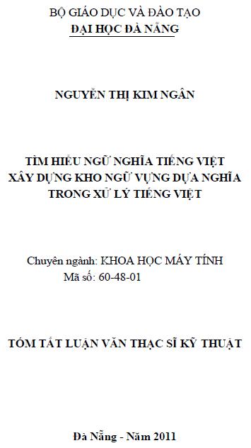 Tìm hiểu ngữ nghĩa tiếng Việt xây dựng kho ngữ vựng dựa nghĩa trong xử lý tiếng Việt