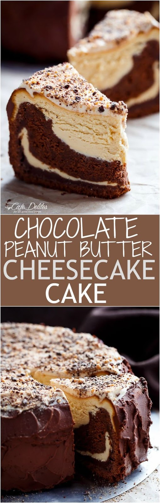 Chocolate Peanut Butter Cheesecake Cake | GIRLS DISH
