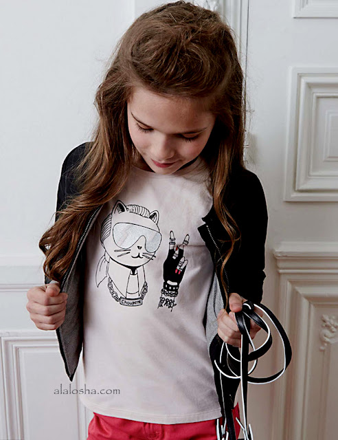 Girls Pink 'Rock Chic' Choupette Print T-Shirt