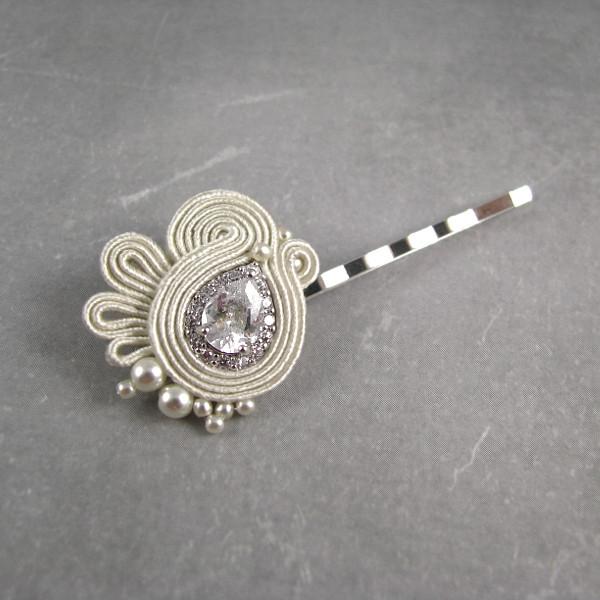 Wsuwka ślubna soutache w stylu retro - z kryształami Swarovski i perłami.