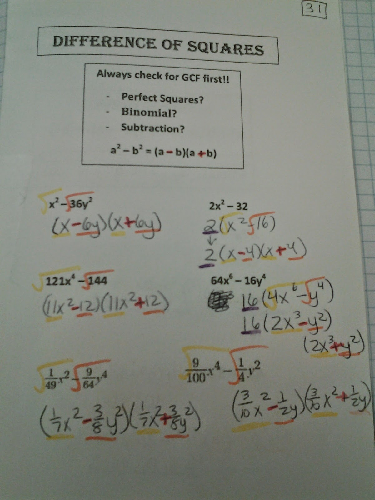 Type A Mathland Unit 2 Quadratics