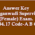 Answer Key / Solved Question Paper Anganwadi Supervisor Female 30.04.17