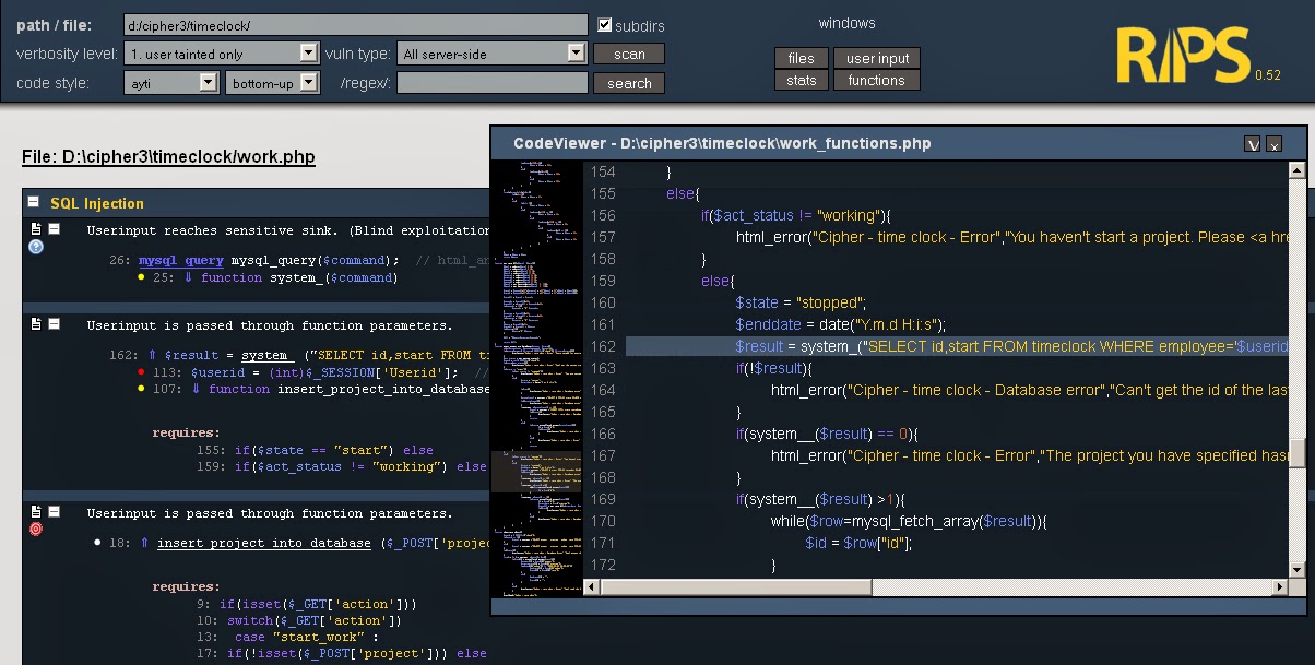 Source Code Analyzer for PHP Vulnerabilities - RIPS - The World of
