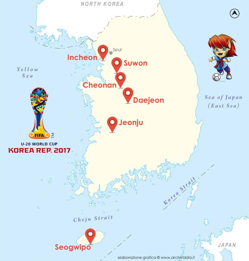 mappa stadi mondiali under20 corea 2017 italia