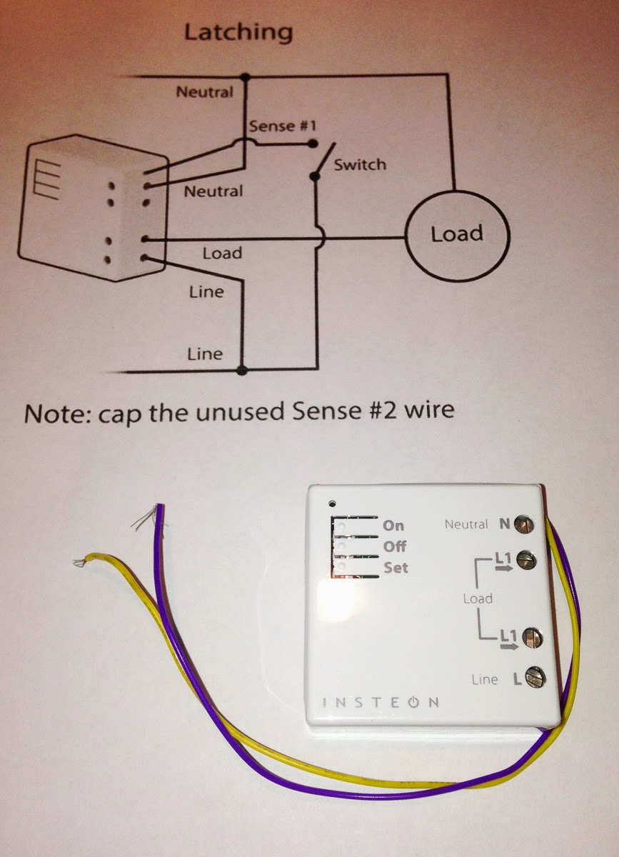 insteon micro on/off relay module, with the latching wiring diagram