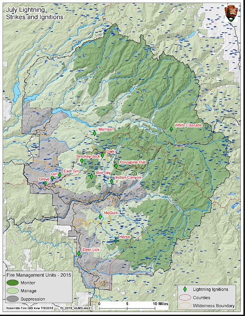 Yosemite lightning caused fires map