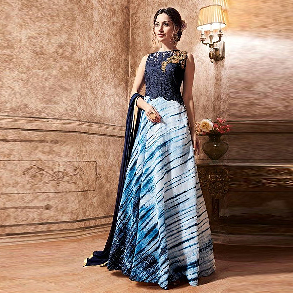 Maisha Pure Silk Long Anarkali Style Dress - Kaseeshonline