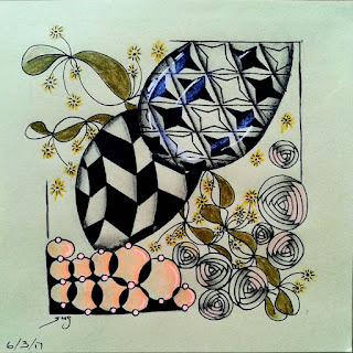 Zentangle Refresher #33 with Patterns: Jonqal, Trentwith, Swirly Dot, Euca, Starbarz