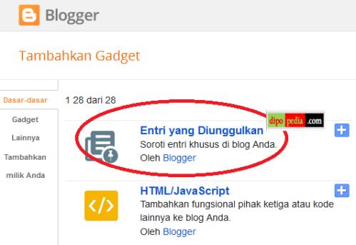 Gambar Fitur Terbaru Dari Blogger: Widget/Gadget Entri yang Diunggulkan (Featured Post) - Dipopedia