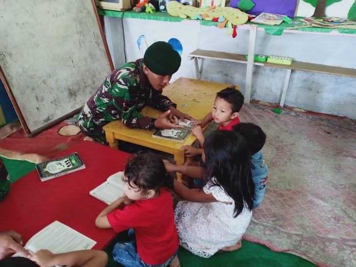 Satgas TMMD Bantu Mengajar di PAUD AINI Desa Sungai Ning