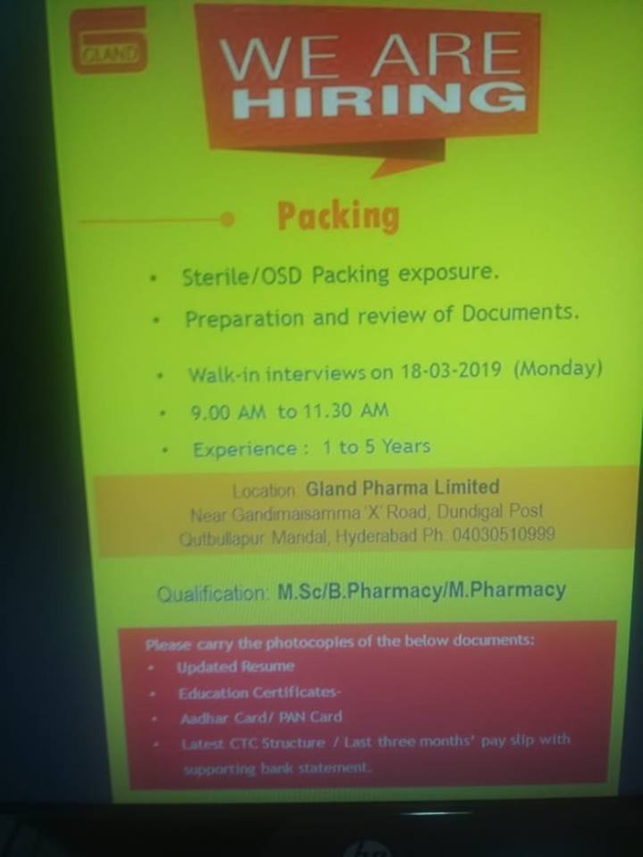 Gland Pharma Ltd Walk In Interview For Packing Department on 18th
