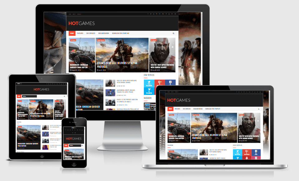 Hot Games Gaming - Responsive Blogger Template