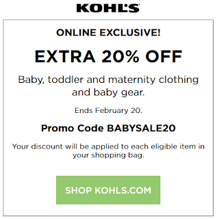 Kohls coupon 20% Off Baby, toddler and maternity clothing and baby gear