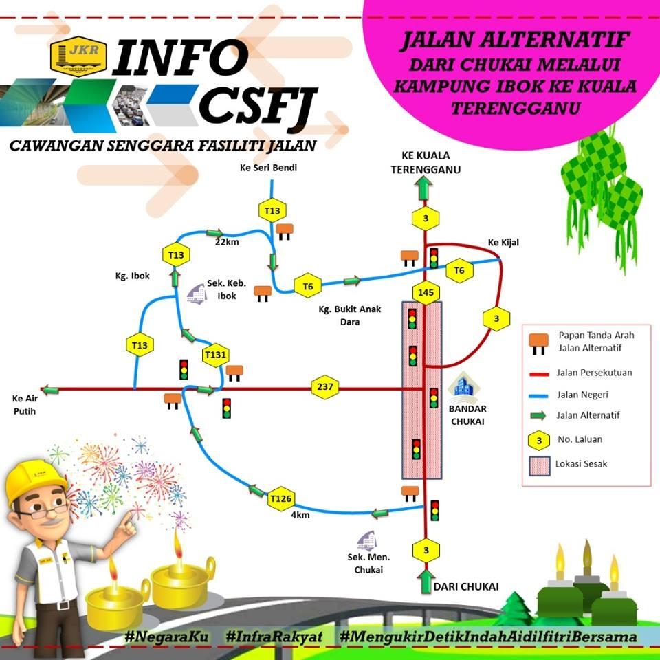 Jalan Alternatif Dari Chukai Melalui Kampung Ibok Ke Kuala Terengganu