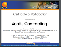 Scotts Contracting CLU-IN Health Risk Training Cert