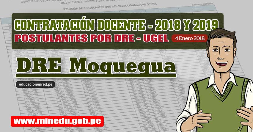 DRE Moquegua: Lista de Postulantes por UGEL DRE - Contrato Docente 2018 (.PDF) www.dremoquegua.gob.pe