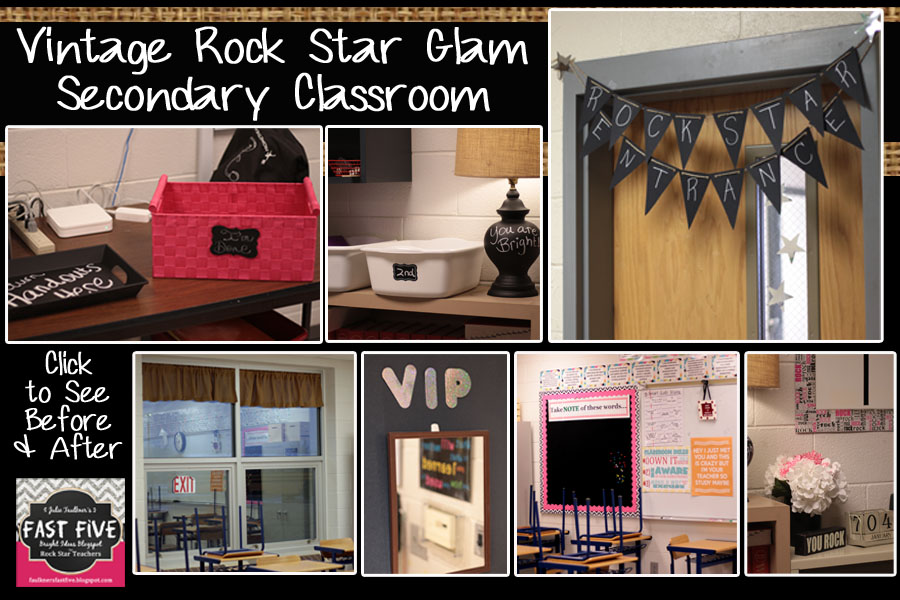 Rockstar Classroom Decor ~ Vintage rock star glam secondary classroom decor for back