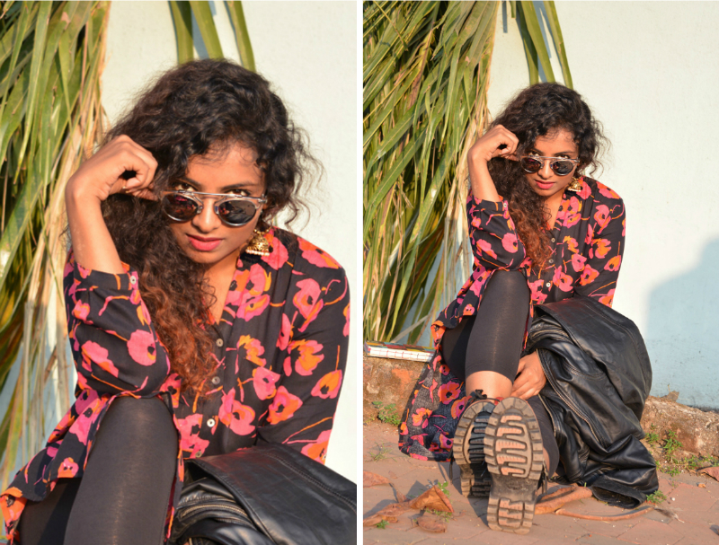 indian fashion bloggers kurti with jacket leather jacket india westside