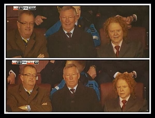 Sir Alex Ferguson's reaction at 2-1 and 2-2 during Man United v Fulham [Picture]