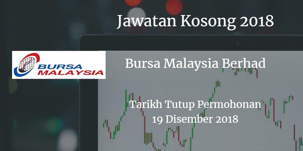 Jawatan Kosong Bursa Malaysia Berhad 19 Disember 2018