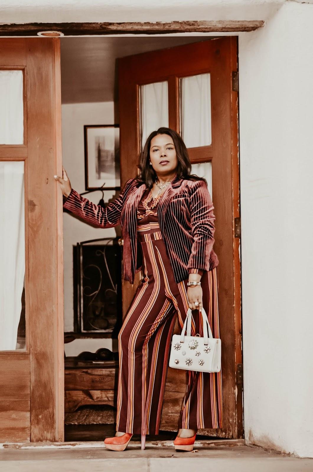 stipe-jumpsuit-outfit-in-korakia-pensione-palmsprings-resort-springtravel-destination-2019-vintage-chloe-purse