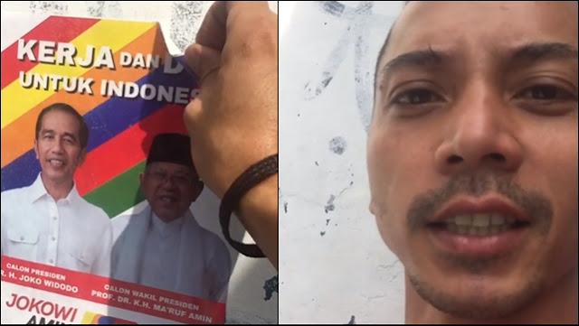 """Fauzi Baadila Copot Poster Jokowi-Ma'ruf, """"Sembarangan Main Asal Tempel Depan Rumah Gue"""""""