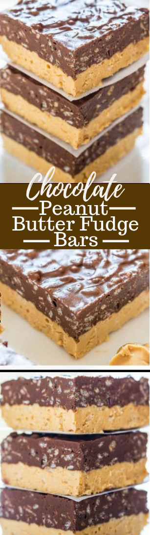 Chocolate Peanut Butter Fudge Bars #desserts