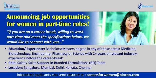 Biocon announcing Job opportunities for women in part-time roles!