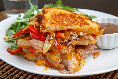 Roast Beef Grilled Cheese Sandwich with Caramelized Onions, Peppers and Horseradish
