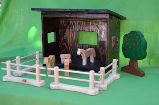 Hand carved farm from JJLadell's on Etsy