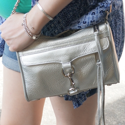 AwayFromTheBlue Blog | Rebecca Minkoff metallic silver mini MAC bag denim shorts