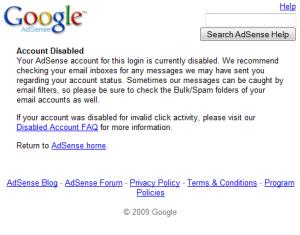 google adsense dibanned