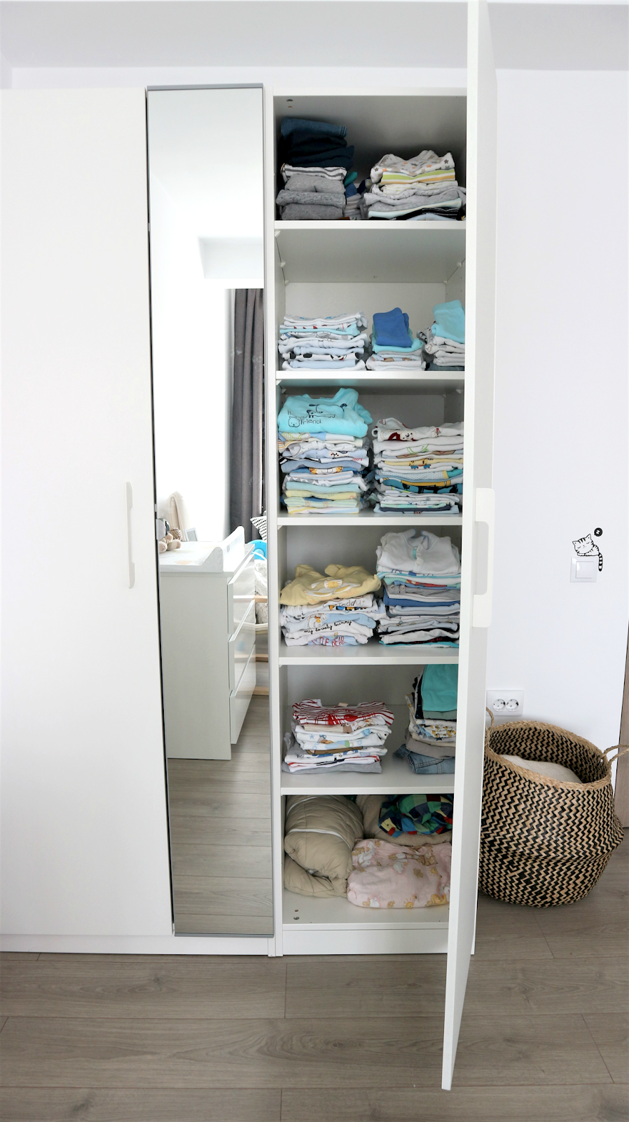 baby boy nursery tour clothes organised by size in ikea wardrobe