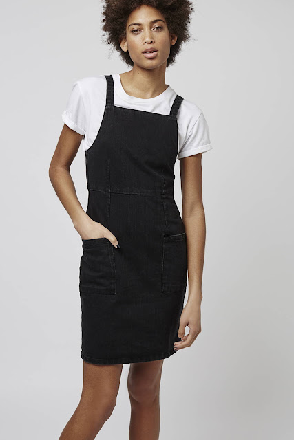 topshop black denim pinafore, black denim pinafore,