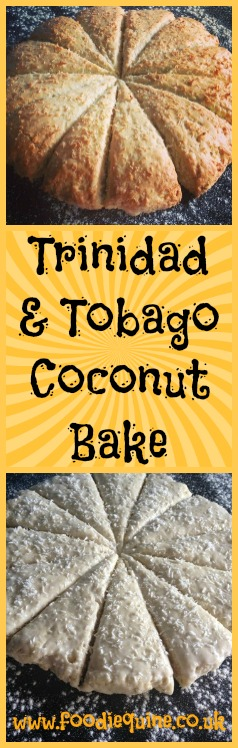 www.foodiequine.co.uk A Caribbean bake from the islands of Trinidad and Tobago. Quick and easy to make this traditional bread like coconut scone is full of exotic flavour.